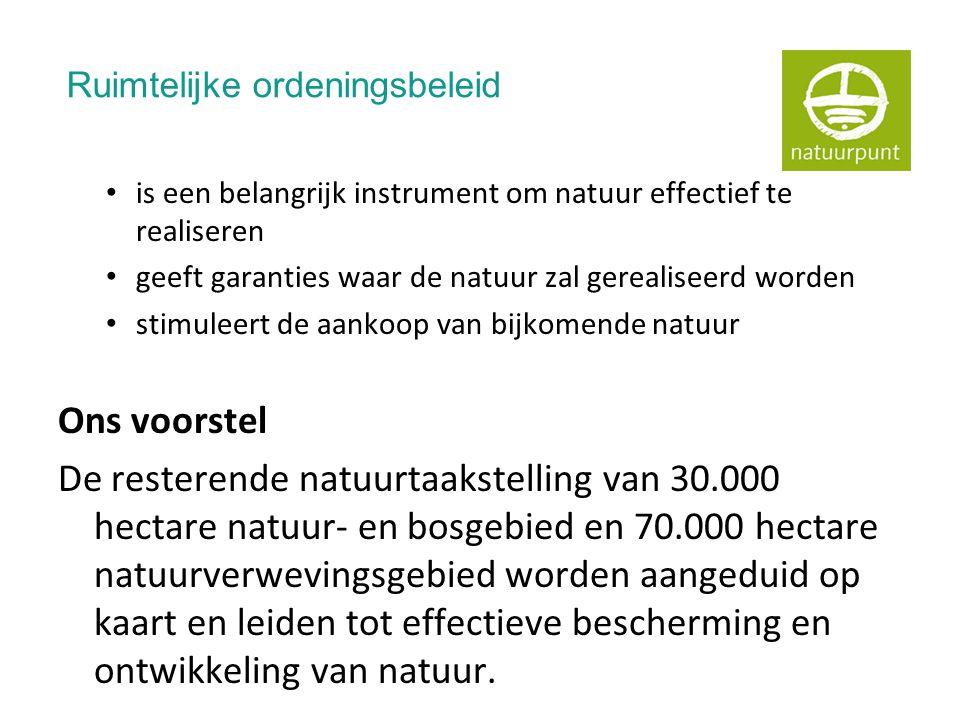 Ruimtelijke ordeningsbeleid • is een belangrijk instrument om natuur effectief te realiseren • geeft garanties waar de natuur zal gerealiseerd worden