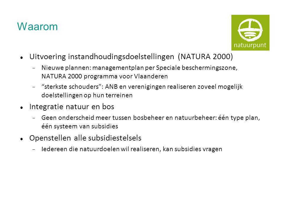 Waarom  Uitvoering instandhoudingsdoelstellingen (NATURA 2000)  Nieuwe plannen: managementplan per Speciale beschermingszone, NATURA 2000 programma voor Vlaanderen  sterkste schouders : ANB en verenigingen realiseren zoveel mogelijk doelstellingen op hun terreinen  Integratie natuur en bos  Geen onderscheid meer tussen bosbeheer en natuurbeheer: één type plan, één systeem van subsidies  Openstellen alle subsidiestelsels  Iedereen die natuurdoelen wil realiseren, kan subsidies vragen