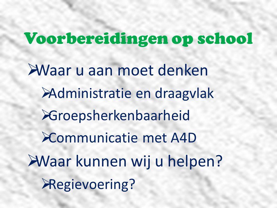 Voorbereidingen op school  Waar u aan moet denken  Administratie en draagvlak  Groepsherkenbaarheid  Communicatie met A4D  Waar kunnen wij u helpen.