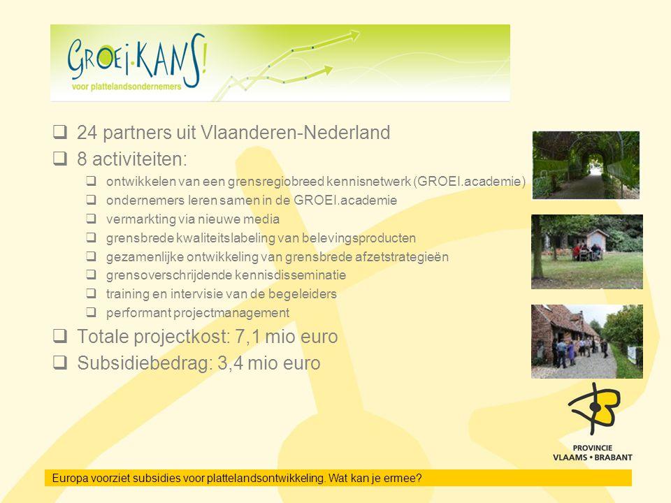 Europa voorziet subsidies voor plattelandsontwikkeling. Wat kan je ermee?  24 partners uit Vlaanderen-Nederland  8 activiteiten:  ontwikkelen van e