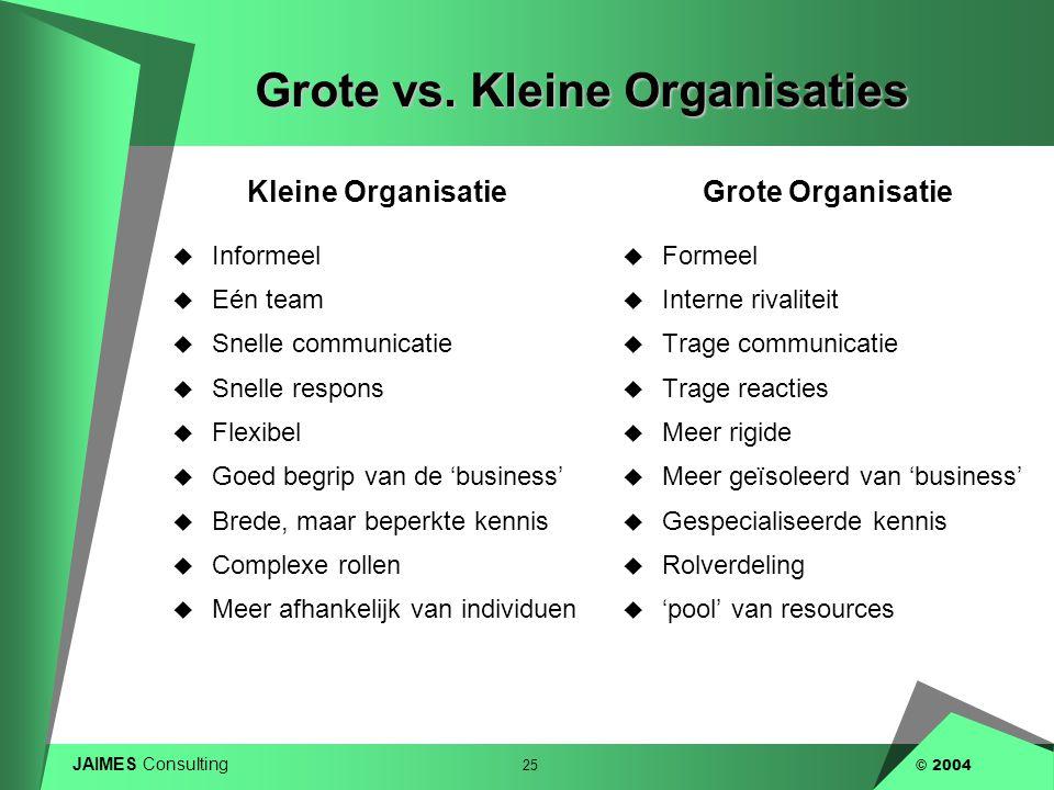 JAIMES Consulting 25 © 2004 Grote vs. Kleine Organisaties Kleine Organisatie  Informeel  Eén team  Snelle communicatie  Snelle respons  Flexibel