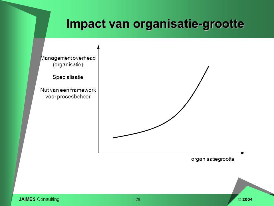 JAIMES Consulting 26 © 2004 Impact van organisatie-grootte organisatiegrootte Management overhead (organisatie) Specialisatie Nut van een framework vo