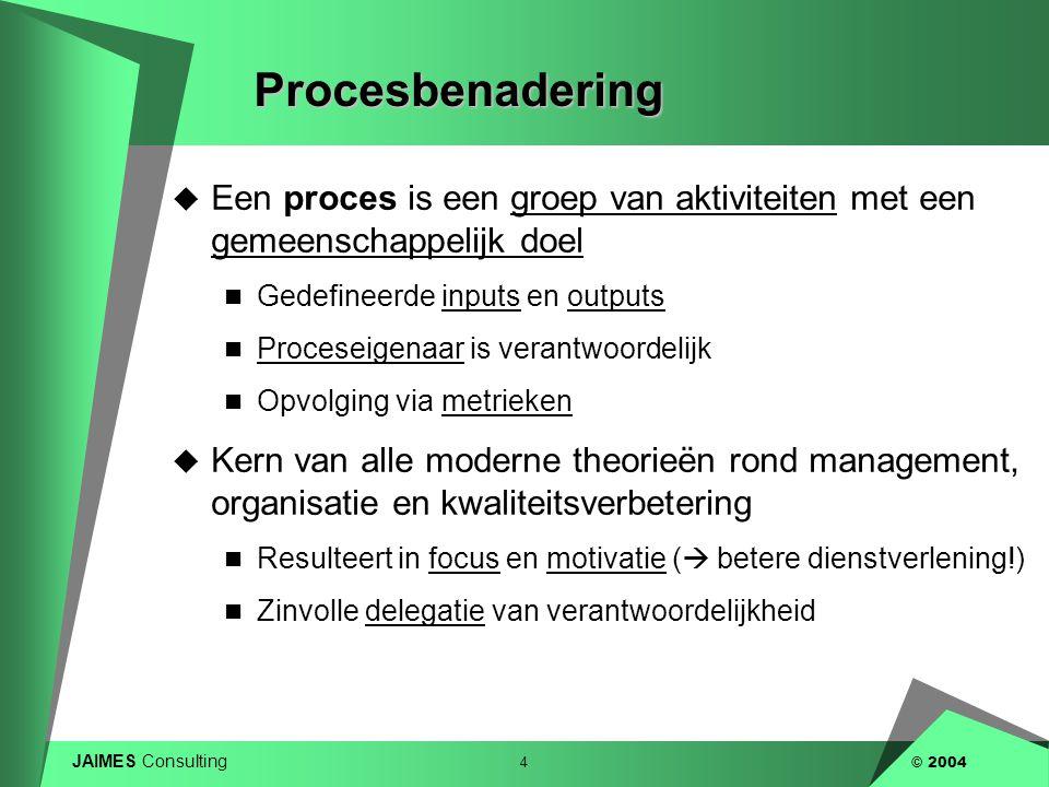 JAIMES Consulting 4 © 2004Procesbenadering  Een proces is een groep van aktiviteiten met een gemeenschappelijk doel  Gedefineerde inputs en outputs