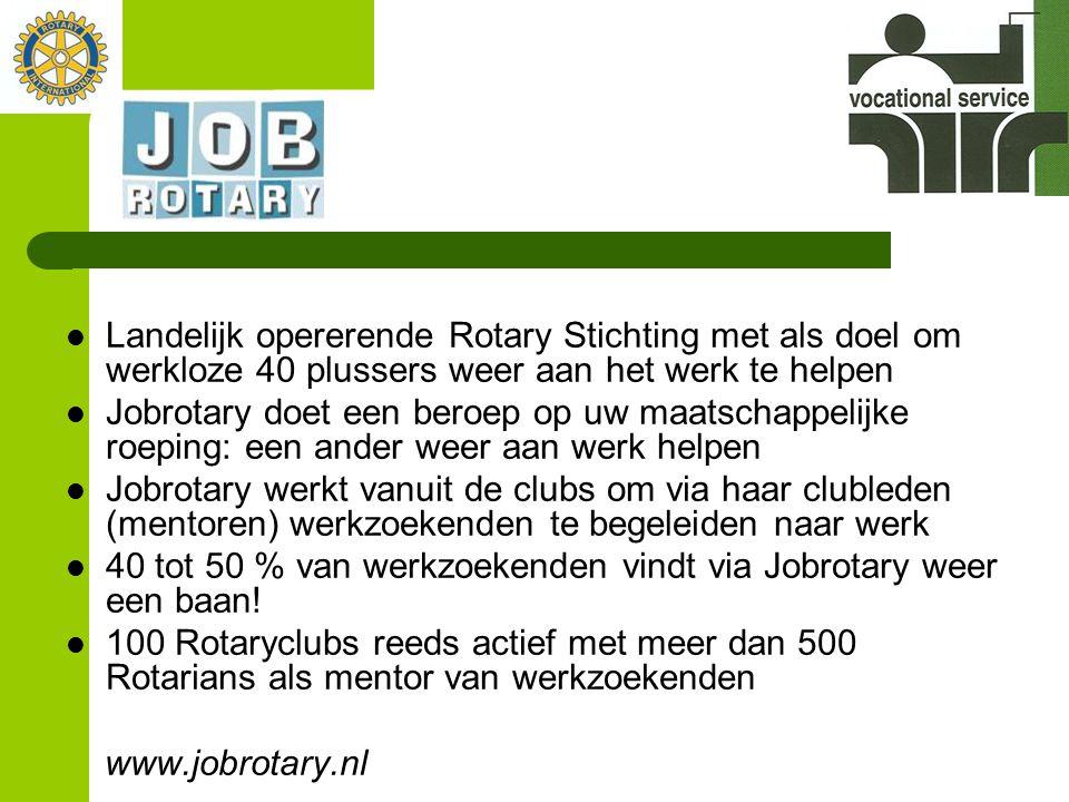  Landelijk opererende Rotary Stichting met als doel om werkloze 40 plussers weer aan het werk te helpen  Jobrotary doet een beroep op uw maatschappe