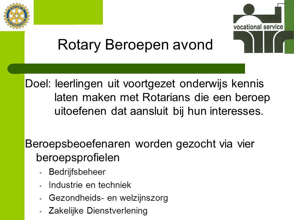 Rotary Beroepen avond Doel: leerlingen uit voortgezet onderwijs kennis laten maken met Rotarians die een beroep uitoefenen dat aansluit bij hun interesses.
