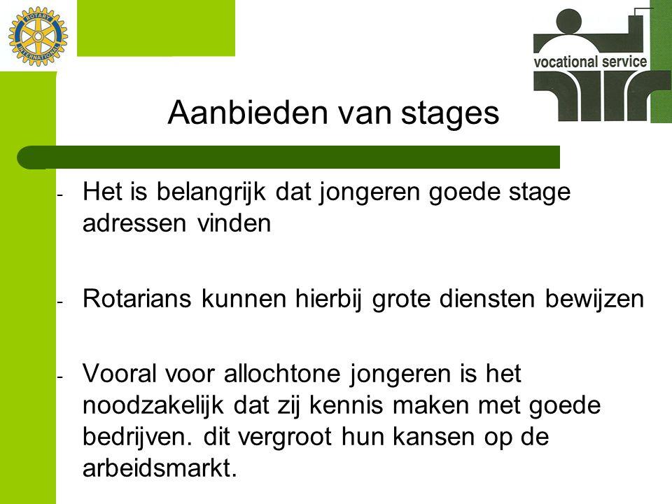 Aanbieden van stages - Het is belangrijk dat jongeren goede stage adressen vinden - Rotarians kunnen hierbij grote diensten bewijzen - Vooral voor allochtone jongeren is het noodzakelijk dat zij kennis maken met goede bedrijven.