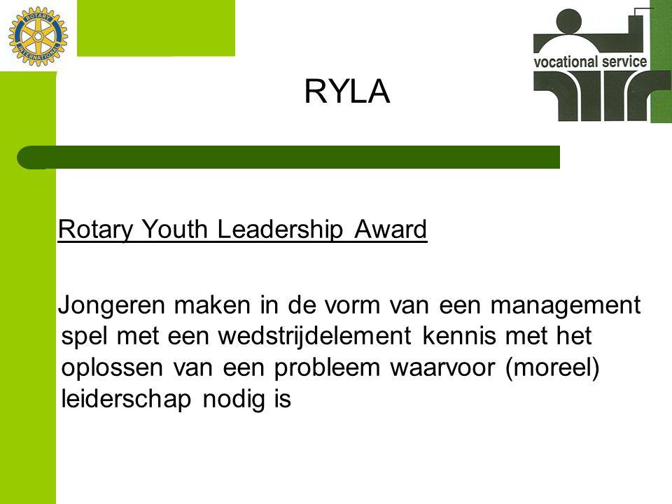 RYLA Rotary Youth Leadership Award Jongeren maken in de vorm van een management spel met een wedstrijdelement kennis met het oplossen van een probleem waarvoor (moreel) leiderschap nodig is