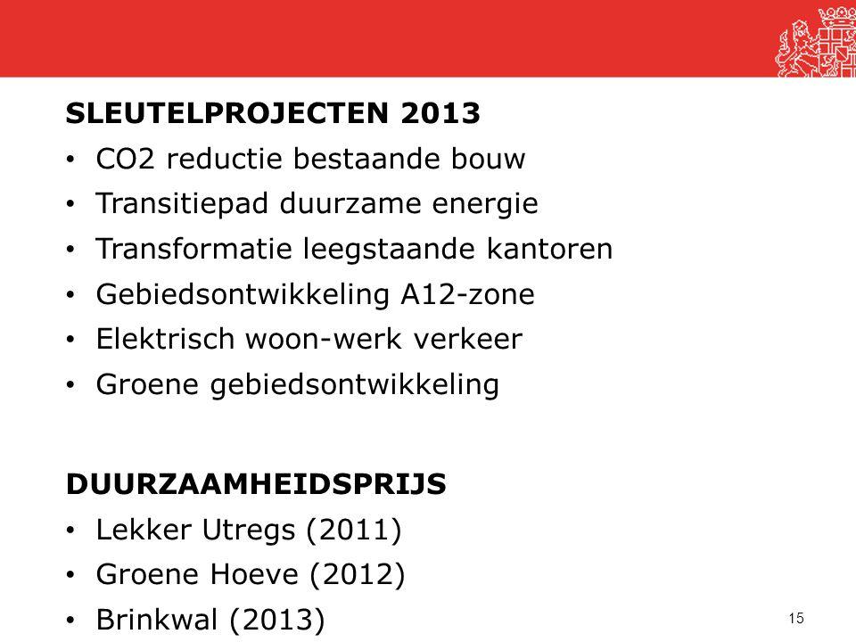15 SLEUTELPROJECTEN 2013 • CO2 reductie bestaande bouw • Transitiepad duurzame energie • Transformatie leegstaande kantoren • Gebiedsontwikkeling A12-