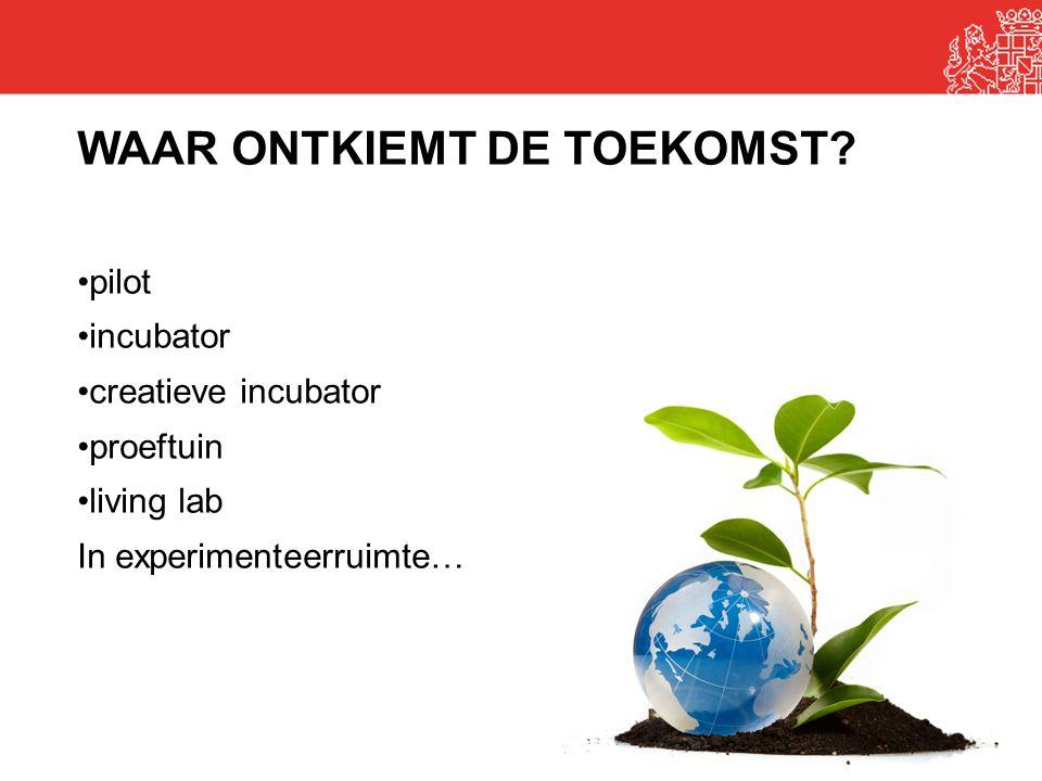 20 WAAR ONTKIEMT DE TOEKOMST? •pilot •incubator •creatieve incubator •proeftuin •living lab In experimenteerruimte…