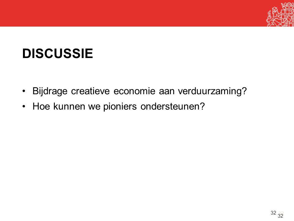 32 DISCUSSIE •Bijdrage creatieve economie aan verduurzaming? •Hoe kunnen we pioniers ondersteunen? 32