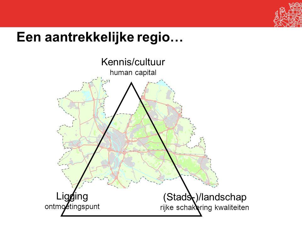 Kennis/cultuur human capital Ligging ontmoetingspunt (Stads-)/landschap rijke schakering kwaliteiten Een aantrekkelijke regio…