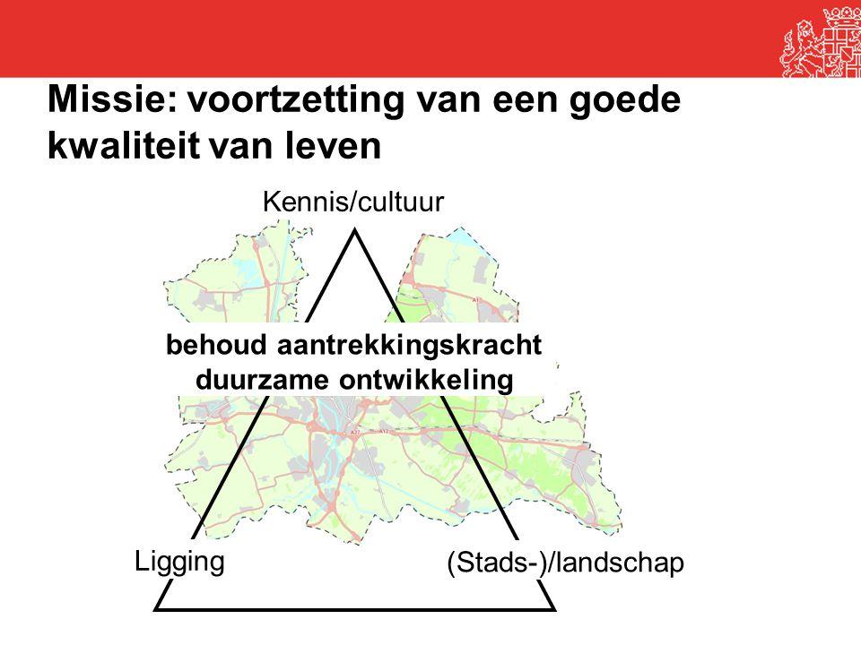 Kennis/cultuur Ligging (Stads-)/landschap behoud aantrekkingskracht duurzame ontwikkeling Missie: voortzetting van een goede kwaliteit van leven