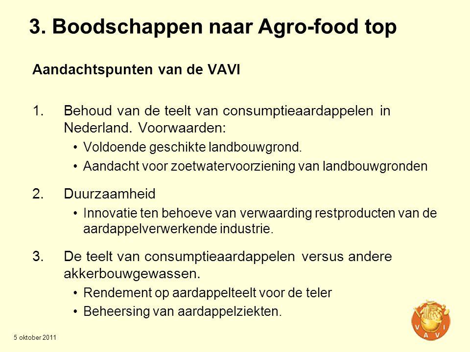 3. Boodschappen naar Agro-food top Aandachtspunten van de VAVI 1.Behoud van de teelt van consumptieaardappelen in Nederland. Voorwaarden: •Voldoende g