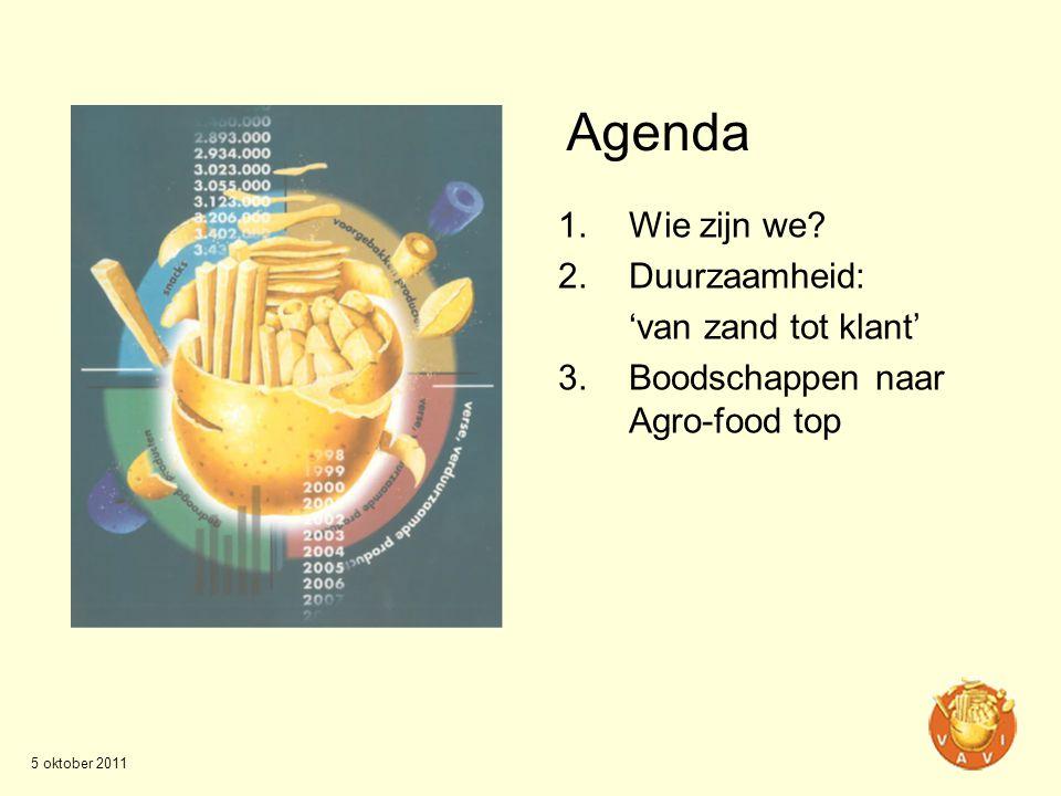 Agenda 1.Wie zijn we? 2.Duurzaamheid: 'van zand tot klant' 3.Boodschappen naar Agro-food top 5 oktober 2011