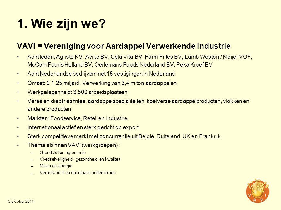 1. Wie zijn we? VAVI = Vereniging voor Aardappel Verwerkende Industrie •Acht leden: Agristo NV, Aviko BV, Cêla Víta BV, Farm Frites BV, Lamb Weston /