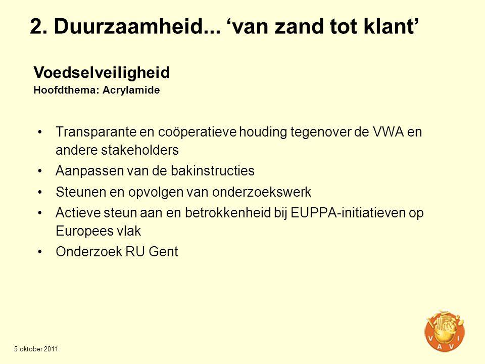 •Transparante en coöperatieve houding tegenover de VWA en andere stakeholders •Aanpassen van de bakinstructies •Steunen en opvolgen van onderzoekswerk