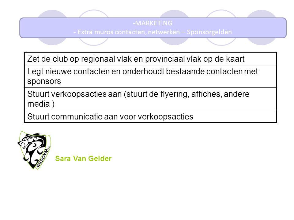 -MARKETING - Extra muros contacten, netwerken – Sponsorgelden Zet de club op regionaal vlak en provinciaal vlak op de kaart Legt nieuwe contacten en o