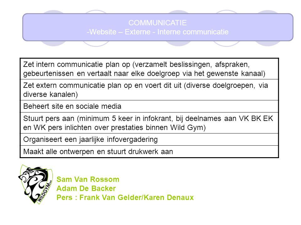 COMMUNICATIE -Website – Externe - Interne communicatie Zet intern communicatie plan op (verzamelt beslissingen, afspraken, gebeurtenissen en vertaalt