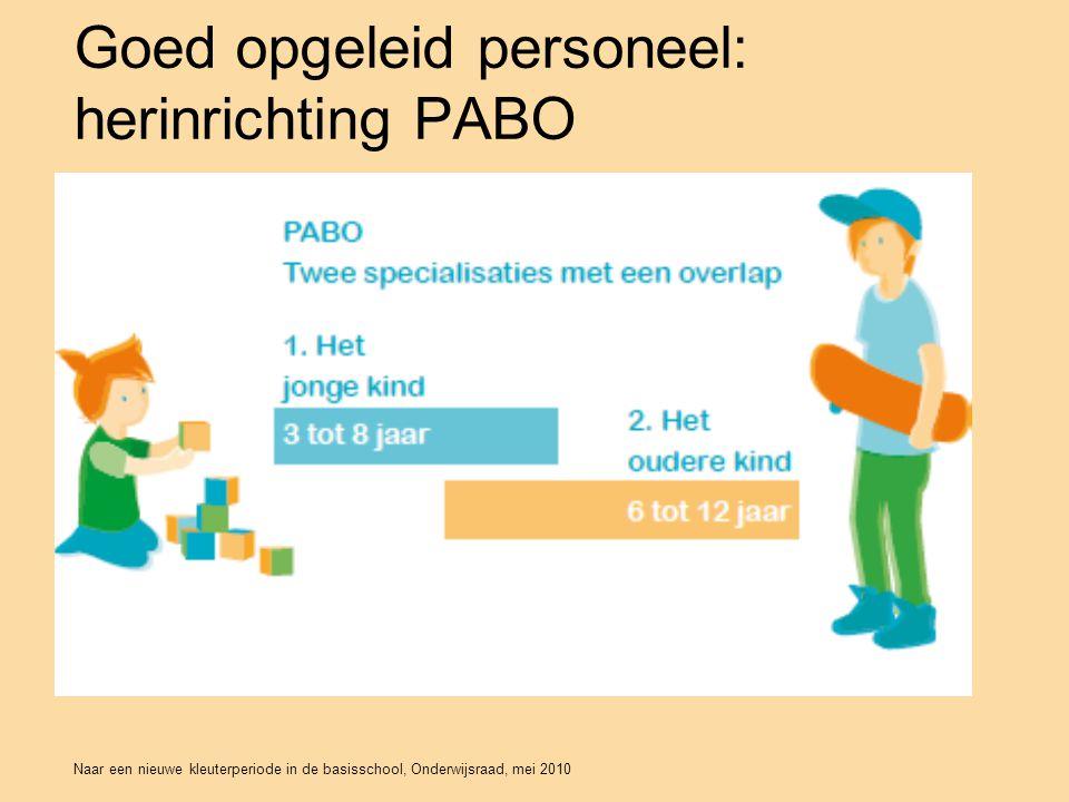 Naar een nieuwe kleuterperiode in de basisschool, Onderwijsraad, mei 2010 Goed opgeleid personeel: herinrichting PABO