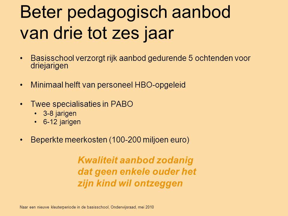 Naar een nieuwe kleuterperiode in de basisschool, Onderwijsraad, mei 2010 Beter pedagogisch aanbod van drie tot zes jaar •Basisschool verzorgt rijk aanbod gedurende 5 ochtenden voor driejarigen •Minimaal helft van personeel HBO-opgeleid •Twee specialisaties in PABO •3-8 jarigen •6-12 jarigen •Beperkte meerkosten (100-200 miljoen euro) Kwaliteit aanbod zodanig dat geen enkele ouder het zijn kind wil ontzeggen
