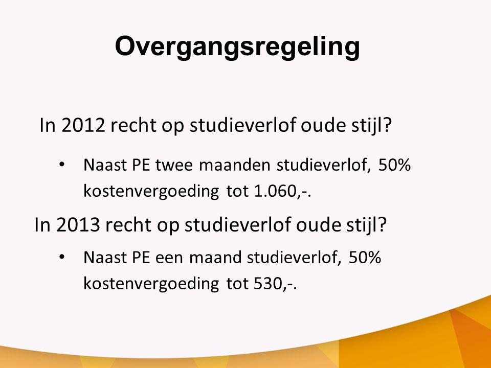 Overgangsregeling In 2012 recht op studieverlof oude stijl.