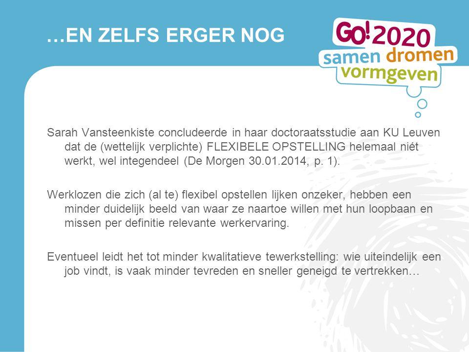 …EN ZELFS ERGER NOG Sarah Vansteenkiste concludeerde in haar doctoraatsstudie aan KU Leuven dat de (wettelijk verplichte) FLEXIBELE OPSTELLING helemaa