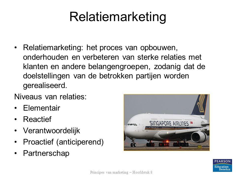 Relatiemarketing •Relatiemarketing: het proces van opbouwen, onderhouden en verbeteren van sterke relaties met klanten en andere belangengroepen, zodanig dat de doelstellingen van de betrokken partijen worden gerealiseerd.