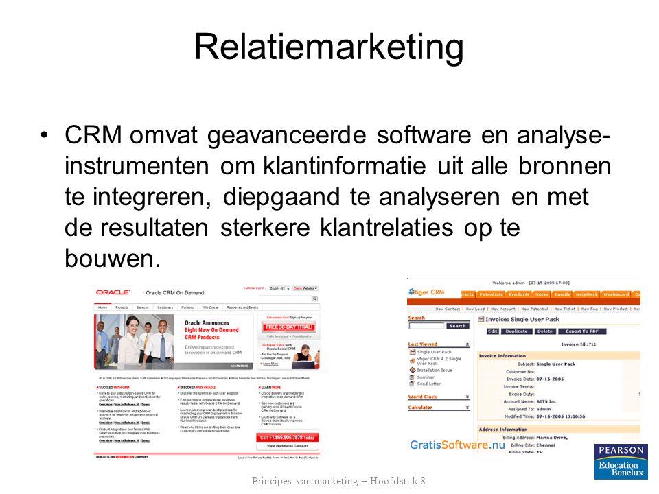 Relatiemarketing •CRM omvat geavanceerde software en analyse- instrumenten om klantinformatie uit alle bronnen te integreren, diepgaand te analyseren en met de resultaten sterkere klantrelaties op te bouwen.