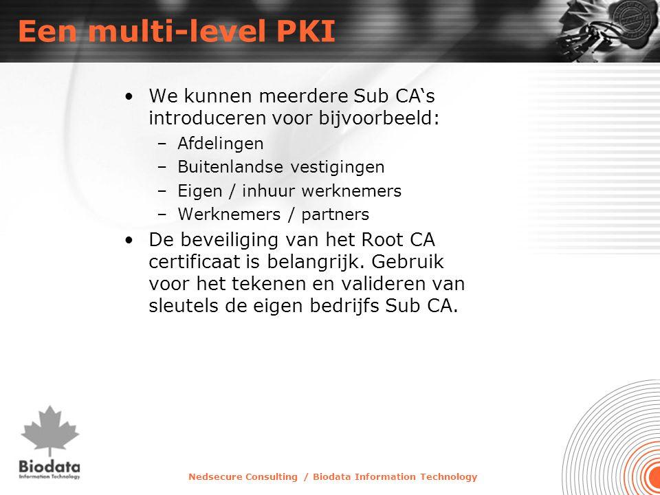 Nedsecure Consulting / Biodata Information Technology Een multi-level PKI •We kunnen meerdere Sub CA's introduceren voor bijvoorbeeld: –Afdelingen –Bu