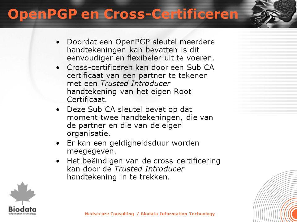Nedsecure Consulting / Biodata Information Technology OpenPGP en Cross-Certificeren •Doordat een OpenPGP sleutel meerdere handtekeningen kan bevatten is dit eenvoudiger en flexibeler uit te voeren.
