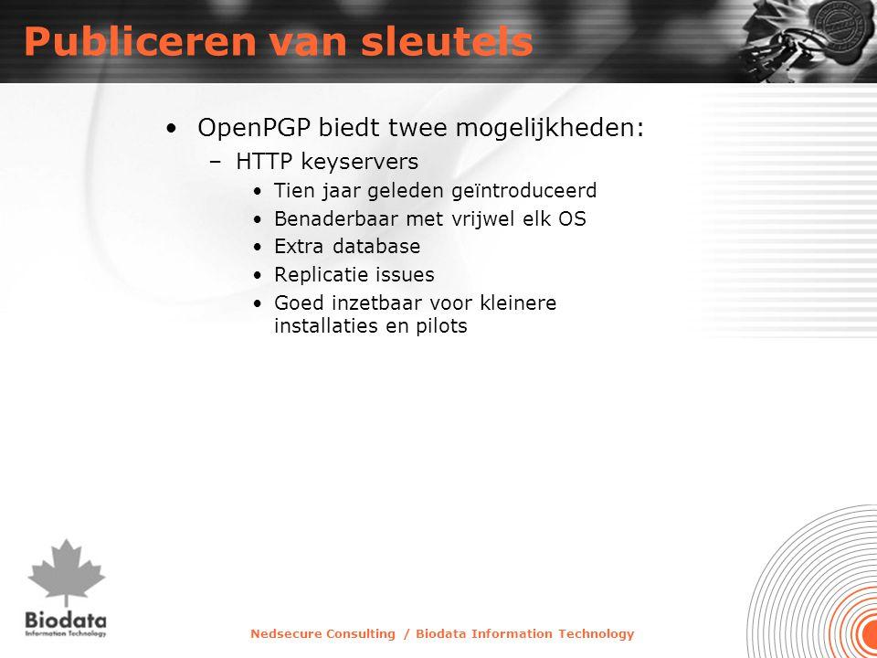 Nedsecure Consulting / Biodata Information Technology Publiceren van sleutels •OpenPGP biedt twee mogelijkheden: –HTTP keyservers •Tien jaar geleden g