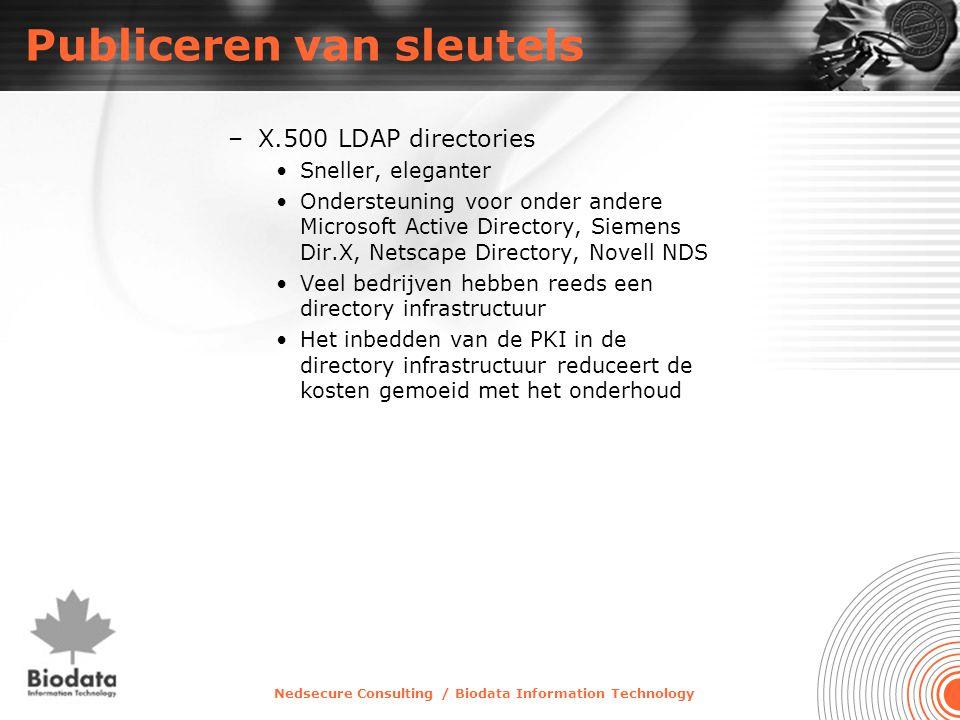 Nedsecure Consulting / Biodata Information Technology Publiceren van sleutels –X.500 LDAP directories •Sneller, eleganter •Ondersteuning voor onder an