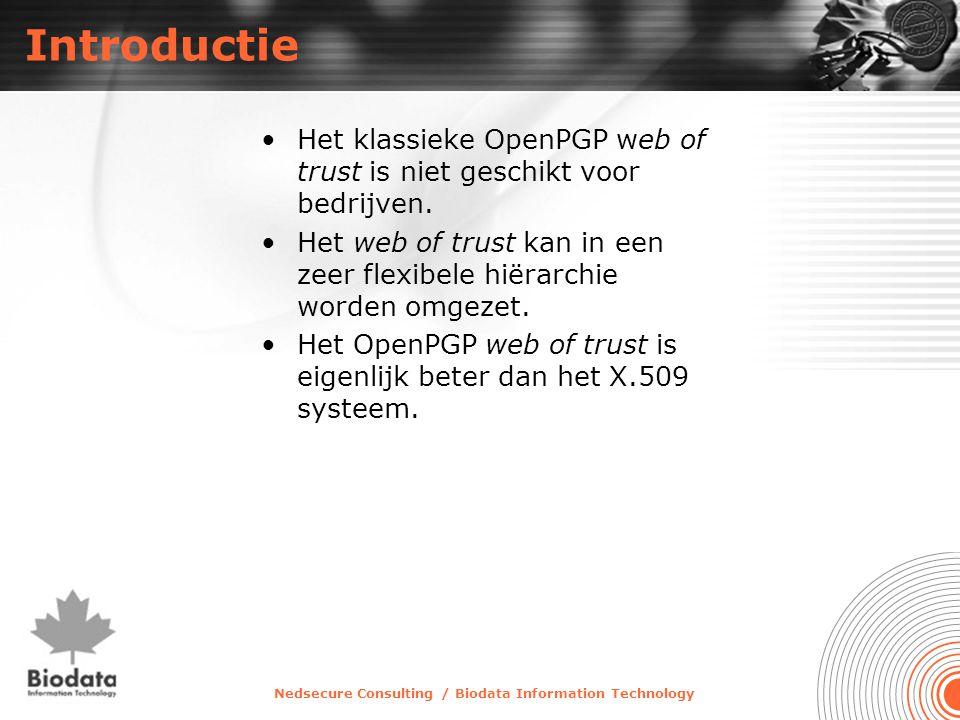 Nedsecure Consulting / Biodata Information Technology Introductie •Het klassieke OpenPGP web of trust is niet geschikt voor bedrijven. •Het web of tru