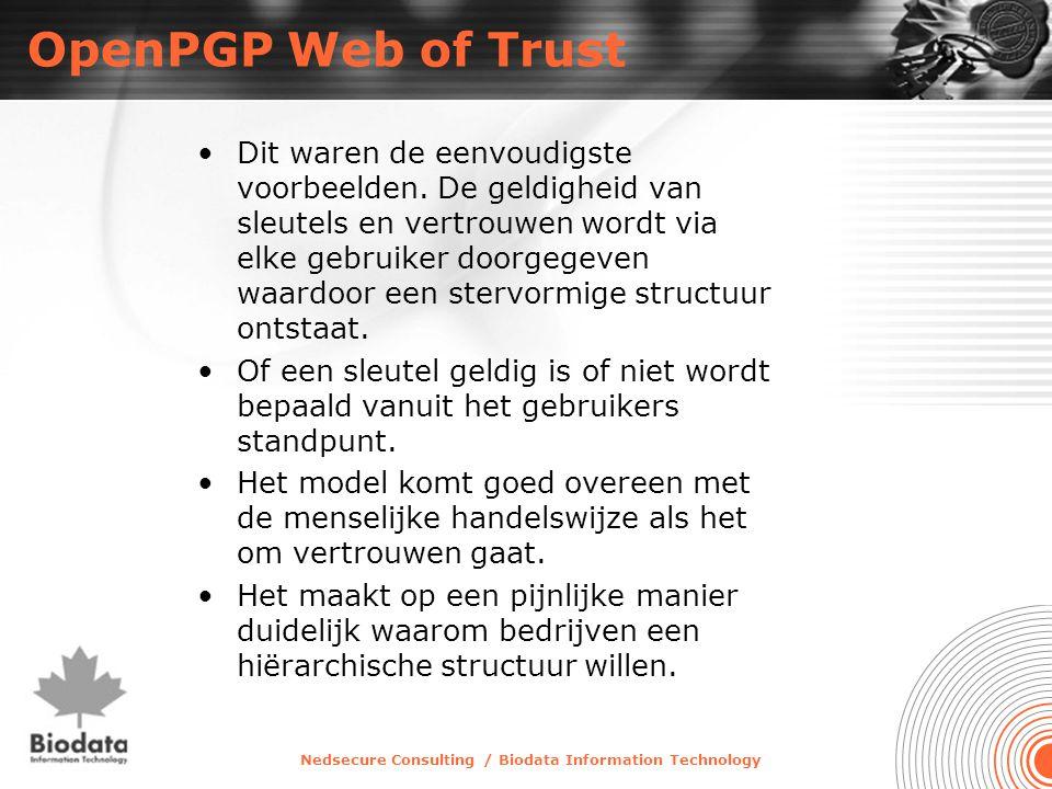 Nedsecure Consulting / Biodata Information Technology OpenPGP Web of Trust •Dit waren de eenvoudigste voorbeelden. De geldigheid van sleutels en vertr