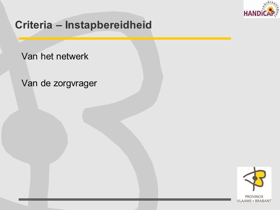 Criteria – Instapbereidheid Van het netwerk Van de zorgvrager