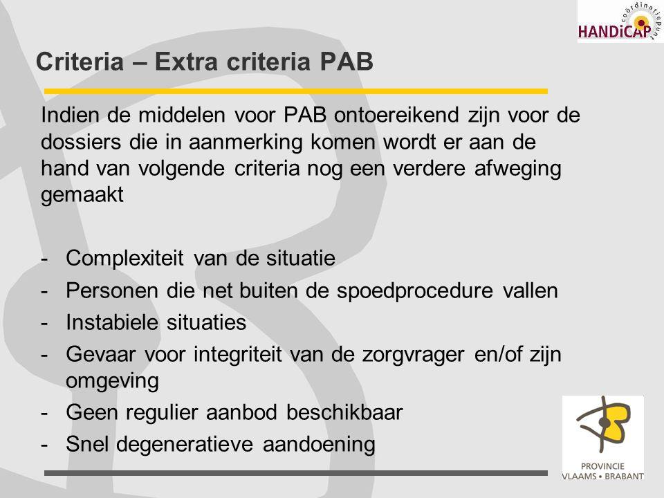 Criteria – Extra criteria PAB Indien de middelen voor PAB ontoereikend zijn voor de dossiers die in aanmerking komen wordt er aan de hand van volgende