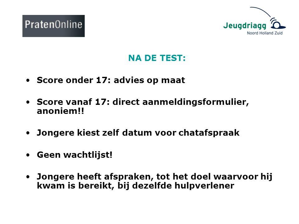 NA DE TEST: •Score onder 17: advies op maat •Score vanaf 17: direct aanmeldingsformulier, anoniem!! •Jongere kiest zelf datum voor chatafspraak •Geen