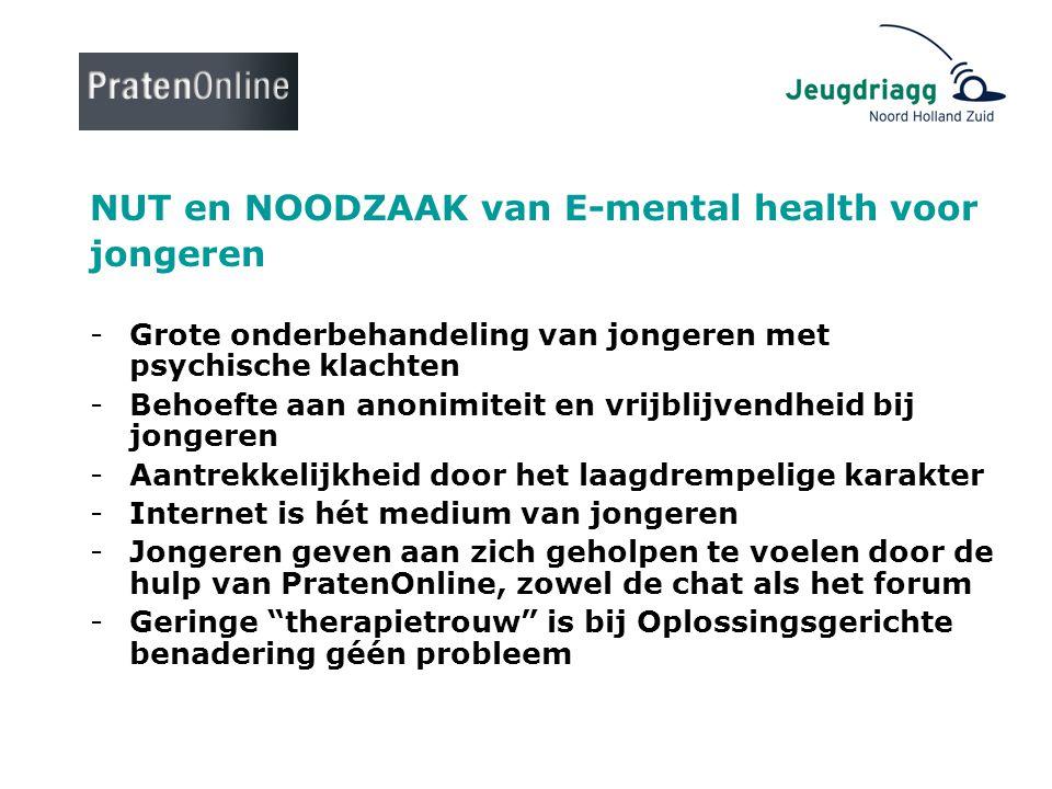 NUT en NOODZAAK van E-mental health voor jongeren -Grote onderbehandeling van jongeren met psychische klachten -Behoefte aan anonimiteit en vrijblijve