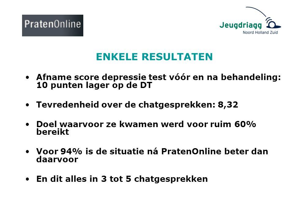 ENKELE RESULTATEN •Afname score depressie test vóór en na behandeling: 10 punten lager op de DT •Tevredenheid over de chatgesprekken: 8,32 •Doel waarv