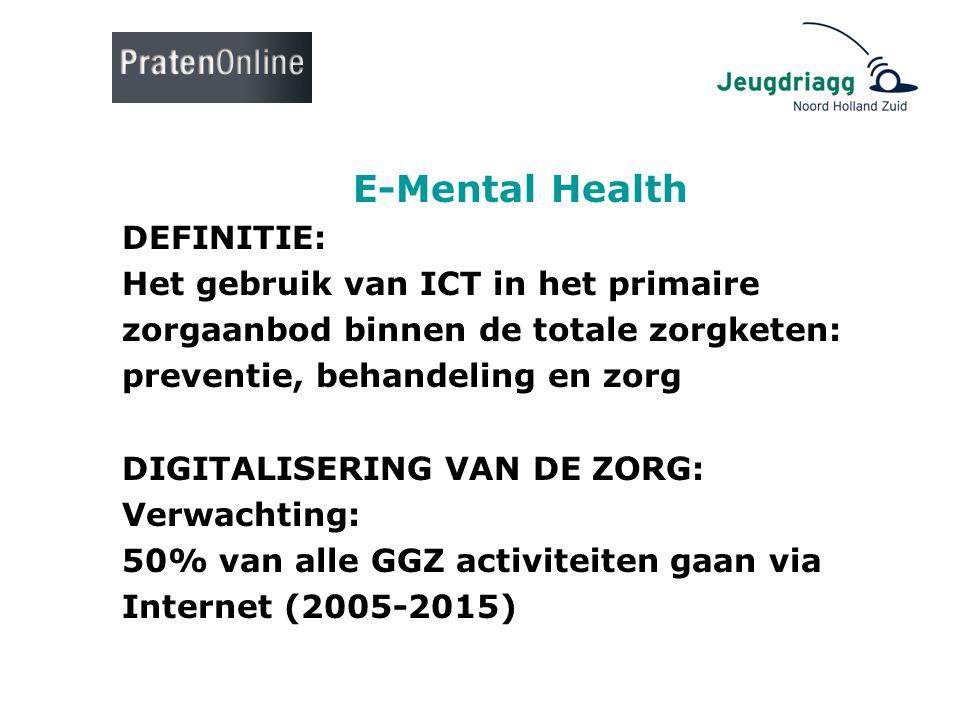 E-Mental Health DEFINITIE: Het gebruik van ICT in het primaire zorgaanbod binnen de totale zorgketen: preventie, behandeling en zorg DIGITALISERING VA