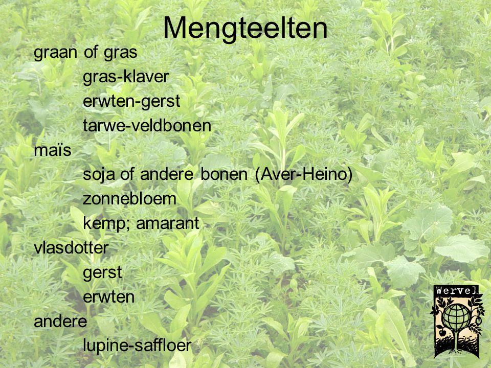 Mengteelten graan of gras gras-klaver erwten-gerst tarwe-veldbonen maïs soja of andere bonen (Aver-Heino) zonnebloem kemp; amarant vlasdotter gerst er