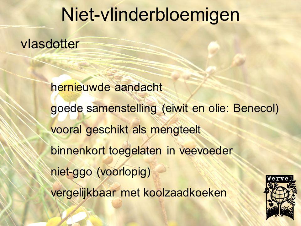Niet-vlinderbloemigen amarant C4 plant; hoge opbrengsten; weinig water nodig nieuwe teelt; interesse vooral als voeding en energie interessant aminozuurpatroon (%)sojaamarant valine1.453.85 tryptofaan0.381.82 threonine 1.13.25 methionine 0.380.64 phenalaine 1.384.7 isoleucine1.51 2.71 leucine 2.75 4.2 lysine 1.76 5.95 goede afrijping voederwaarden: vergelijkbaar met luzerne gezondheid: squaleen en omega3 (blad) nadelen: trage initiele groei, opslag ANF: nitraat en oxaalzuur