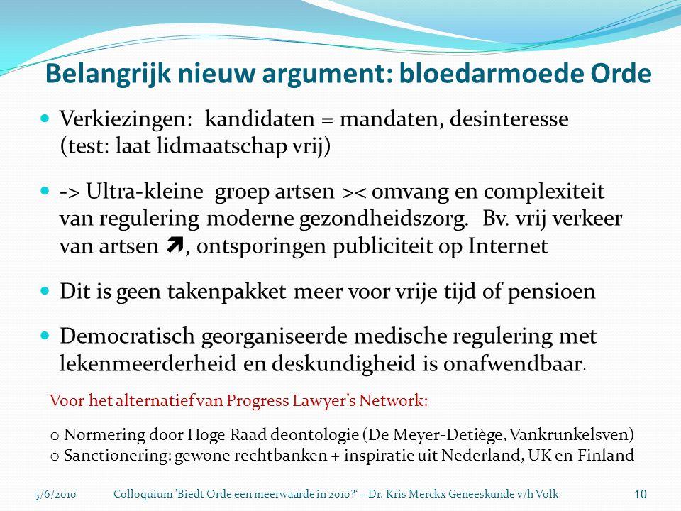 5/6/2010Colloquium 'Biedt Orde een meerwaarde in 2010?' – Dr. Kris Merckx Geneeskunde v/h Volk 10 Belangrijk nieuw argument: bloedarmoede Orde 10  Ve