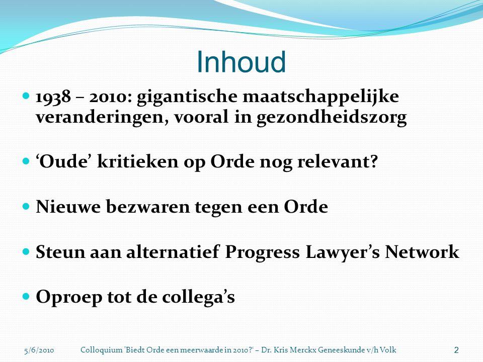 5/6/2010Colloquium 'Biedt Orde een meerwaarde in 2010?' – Dr. Kris Merckx Geneeskunde v/h Volk 2 Inhoud  1938 – 2010: gigantische maatschappelijke ve