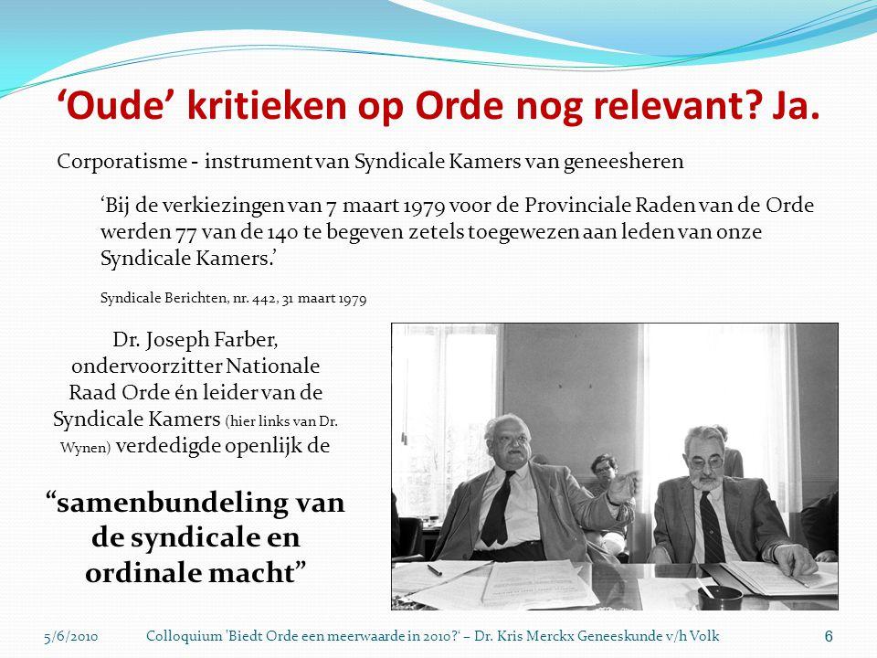 5/6/2010Colloquium 'Biedt Orde een meerwaarde in 2010?' – Dr. Kris Merckx Geneeskunde v/h Volk 66 'Oude' kritieken op Orde nog relevant? Ja. Corporati