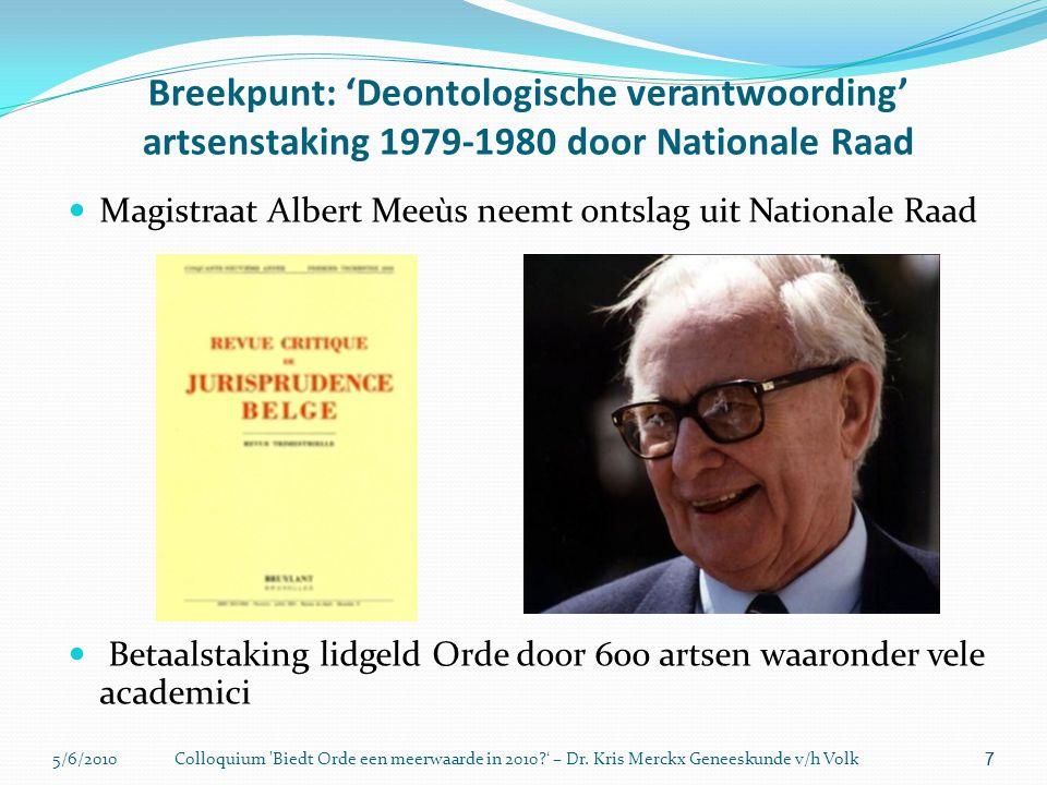 5/6/2010Colloquium 'Biedt Orde een meerwaarde in 2010?' – Dr. Kris Merckx Geneeskunde v/h Volk 7 Breekpunt: 'Deontologische verantwoording' artsenstak