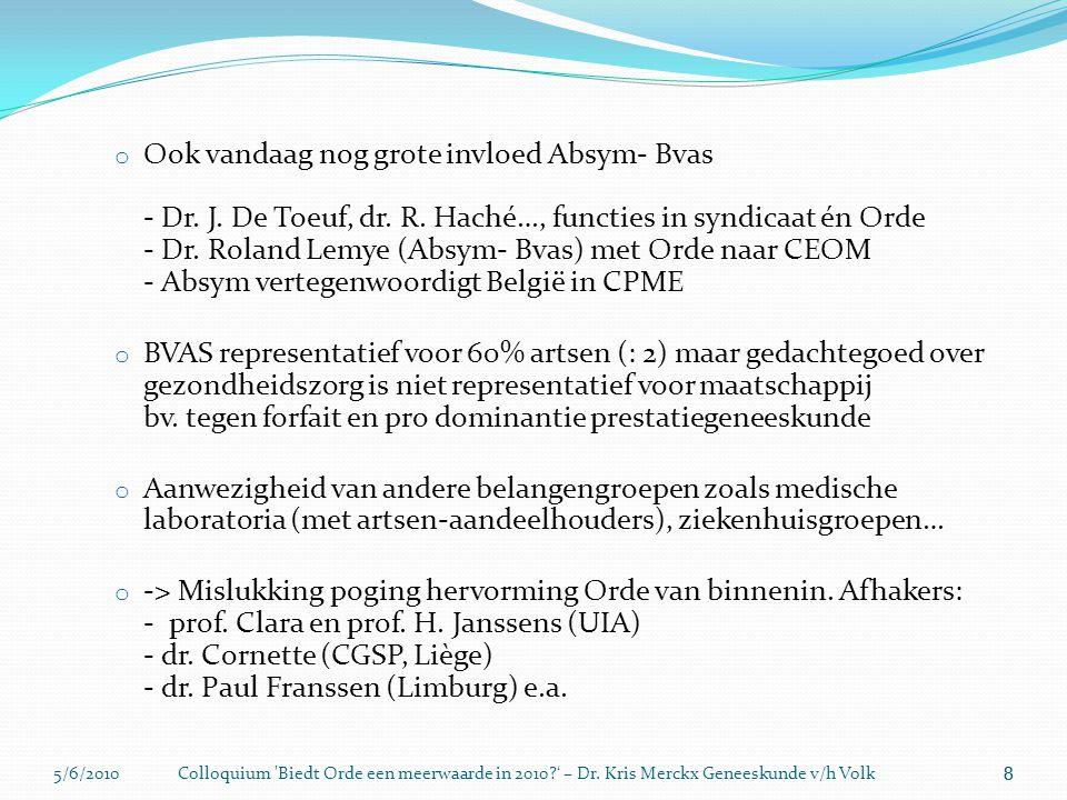 5/6/2010Colloquium 'Biedt Orde een meerwaarde in 2010?' – Dr. Kris Merckx Geneeskunde v/h Volk 8 o Ook vandaag nog grote invloed Absym- Bvas - Dr. J.