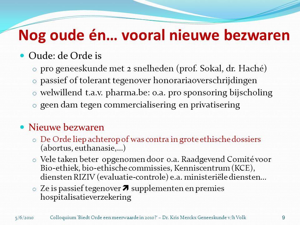 5/6/2010Colloquium 'Biedt Orde een meerwaarde in 2010?' – Dr. Kris Merckx Geneeskunde v/h Volk 9 Nog oude én… vooral nieuwe bezwaren  Oude: de Orde i