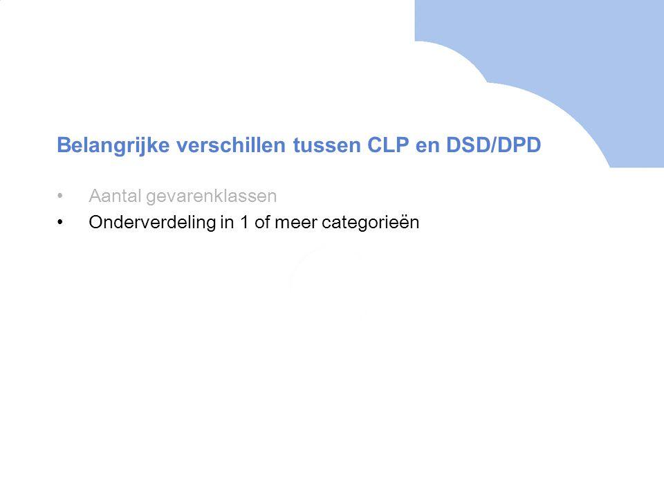 •Aantal gevarenklassen •Onderverdeling in 1 of meer categorieën Belangrijke verschillen tussen CLP en DSD/DPD
