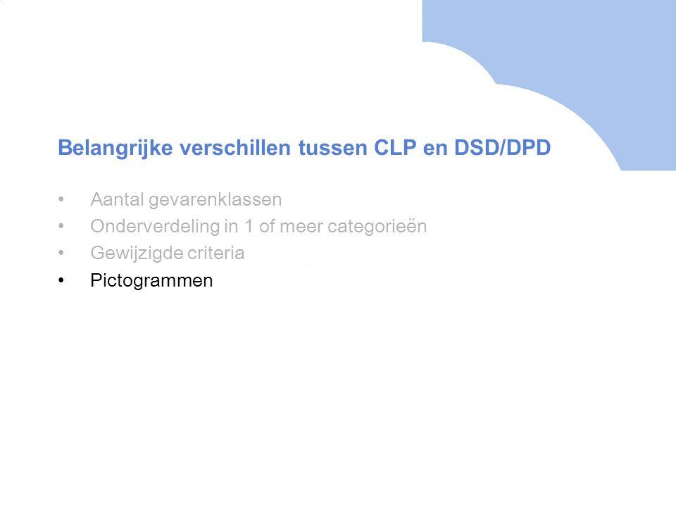 •Aantal gevarenklassen •Onderverdeling in 1 of meer categorieën •Gewijzigde criteria •Pictogrammen Belangrijke verschillen tussen CLP en DSD/DPD